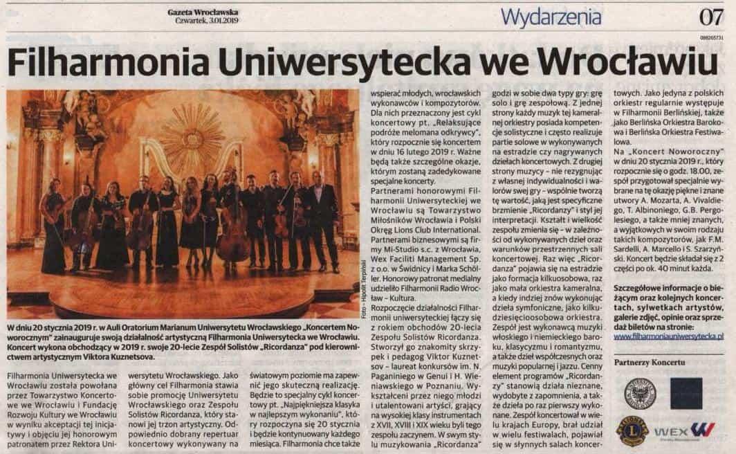 gazeta wrocławska o filharmonii uniwersyteckiej